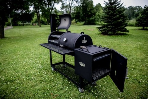 Outdoor large BBQ Pit with open grill & smoker door